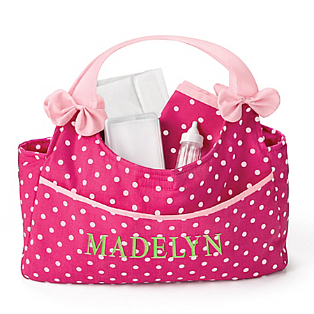 Baby Doll Diaper Bag With Embroidered Name And Accessories
