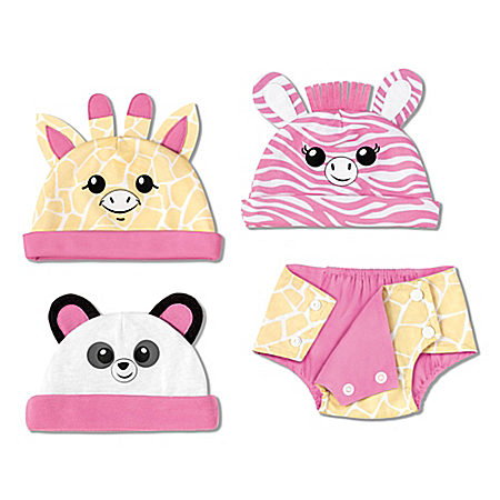 Animal Hats And Reversible Diaper Cover Baby Doll Accessory Set