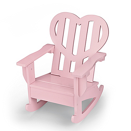 Pink Heart-Shaped Wooden Rocking Chair Doll Accessory