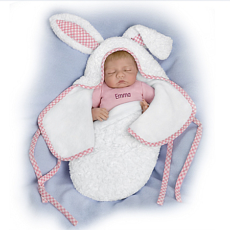 So Truly Real Baby Of Mine White Bunny Personalized Vinyl Baby Doll