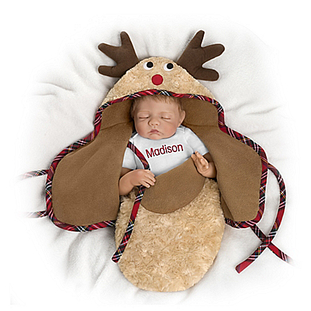 Bonnie Chyle Baby Of Mine Reindeer Personalized Holiday Baby Doll