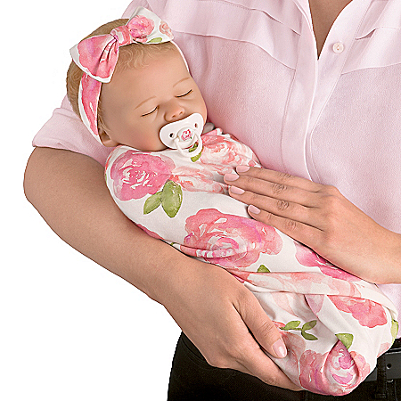 Marissa May Rosie Baby Doll With Custom Rose Print Swaddle Blanket