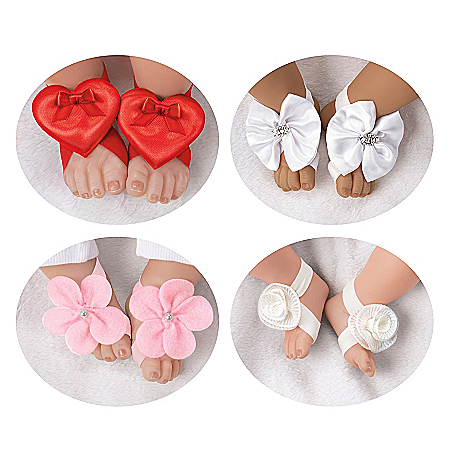 Barefoot Flower-Shaped Sandals And Headband Baby Doll Accessory Set