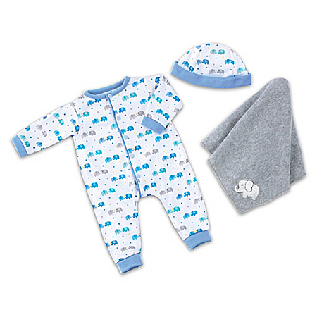 Elephant Sleeper And Blanket 3-Piece Baby Doll Accessory Set