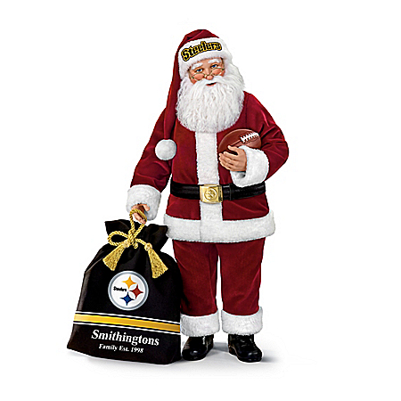 Pittsburgh Steelers NFL Santa Doll With Personalized Bag