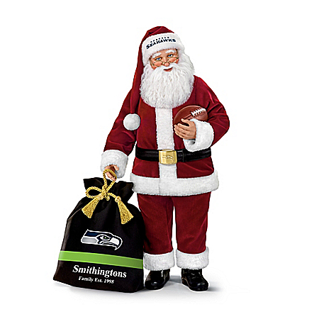 Seattle Seahawks NFL Santa Doll With Personalized Bag