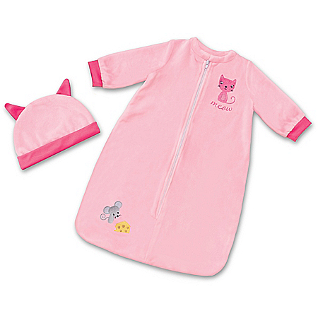 Cat & Mouse Pink Fleece Sleep Sack Baby Doll Accessory With Cap