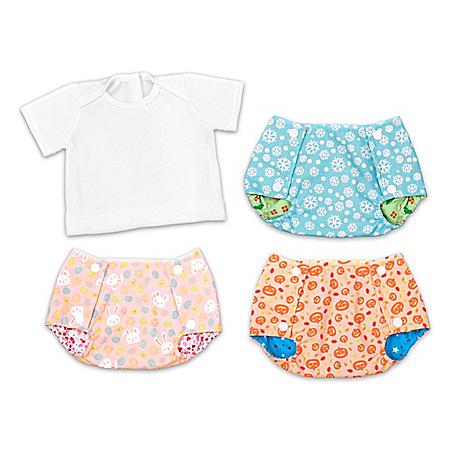 Reversible Seasonal Baby Doll Diaper Covers & Tee-Shirt Set