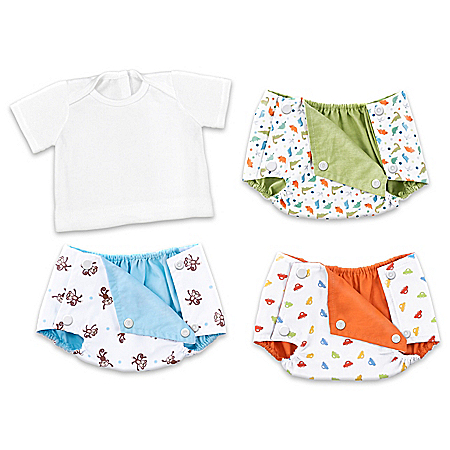 3 Reversible Baby Boy Doll Diaper Covers And 1 White T-Shirt