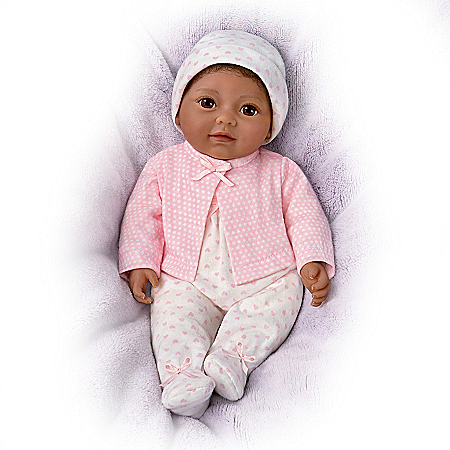 Little Kiara Vinyl Baby Doll With A Sleeper, Cap & Jacket
