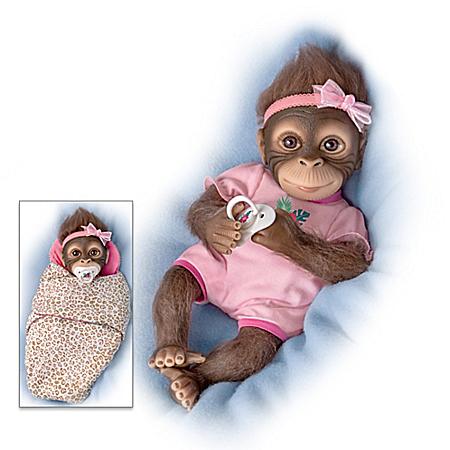 Snuggle Suri Lifelike Baby Monkey Doll With Custom Bunting