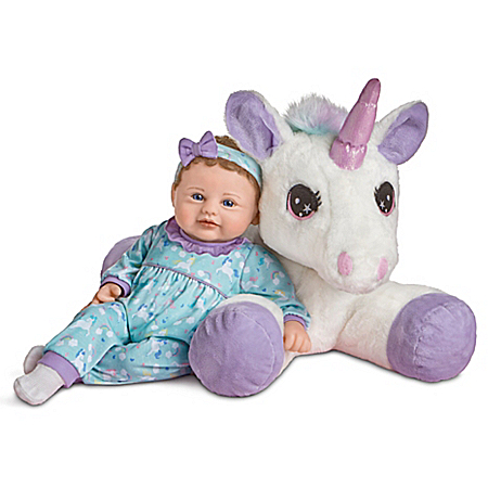Mia And Sparkle Violet Parker Baby Doll With Plush Unicorn