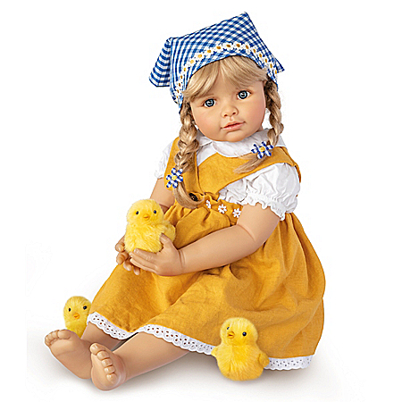 Monika Gerdes Emma With Chicks Child Doll And Plush Chicks