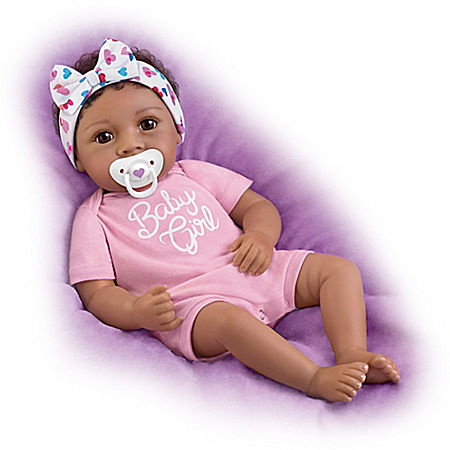 Little Baby Girl Vinyl Doll With Magnetic Pacifier