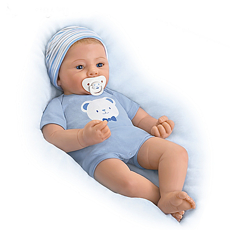 Sandy Faber Vinyl Baby Boy Doll With Magnetic Pacifier