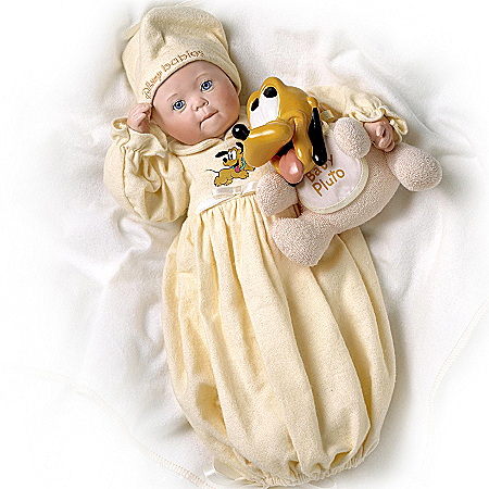 Disney Dreamland Baby Pluto Porcelain Baby Doll