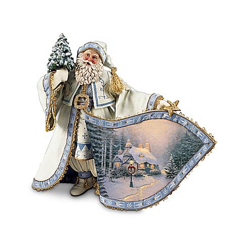 Thomas Kinkade Frosty Christmas Eve Santa Figurine
