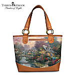 Thomas Kinkade Lamplight Bridge Classic Carryall Tote Bag: Lamplight Village