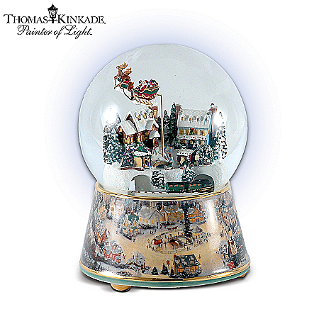 Musical Snow Globes Thomas Kinkade Village Christmas Animated Musical Snowglobe