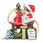 Charming Tails Merry Kiss-mas Collectible Christmas Mouse Figurine