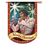 Elvis Presley Merry Christmas Flag: Elvis Home Decor