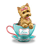 Yorkie Teacup Figurine