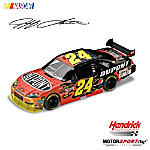 """Three-time winner of the prestigious DAYTONA 500® and four-time NASCAR® Cup champion, Jeff Gordon embarks on his quest to """"Drive for Five,"""" and you don't want to be left in the dust! Presenting a collectible Jeff Gordon diecast car sporting a powerful FireStorm paint scheme, as created by legendary motorsports artist Sam Bass. Honor one of the most successful drivers on the circuit with this dynamic 1:24 scale reinvention of his 2009 No. 24® DuPont™ Chevrolet Impala SS.Fully licensed by NASCAR and Hendrick Motorsports, and available from Motorsports Editions™, this precision-engineered diecast collectible features a die-cast body and chassis, opening hood and trunk, accurate head contour, detailed interior, working steering and rear wing. Crafted with over 100 individual parts and imprinted with a special DIN™ for registration, this diecast makes an exciting hot Jeff Gordon fan gift or prized collectible! Strong demand is expected. Order now!"""