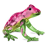 Breast Cancer Support Glass Frog Figurine: Hope Hops Here