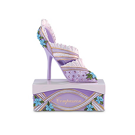 "Alzheimer's Research Support ""Compassion And Style"" Purple Forget-Me-Not Shoe Figurine"