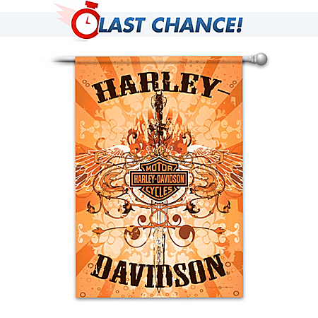 Harley Davidson Flag with Iconic Brand Symbols and Colors
