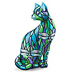 """The """"Dragonfly"""" Stained-Glass Cat Figurine"""