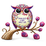 Floral Design In Red And Purple Owl Figurine