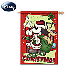 Mickey Mouse Merry Christmas Vintage-Style Flag