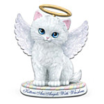 """The """"Kittens Are Angels With Whiskers!"""" White Kitten With Blue Eyes Figurine"""