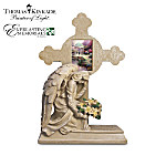 Thomas Kinkade Eternal Light Cross Memorial Sculpture With Lighted Flowers