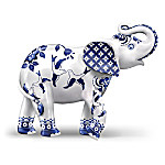 """The Blue Willow-Inspired """"Two Birds Flying By"""" Elephant Figurine"""