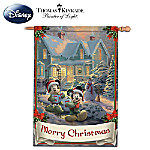 """Disney's Mickey & Minnie """"Merry Christmas"""" Decorative Flag With Thomas Kinkade Artwork"""