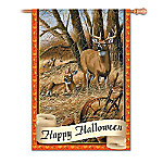 White-Tailed Deer Happy Halloween Flag With Rosemary Millette Art