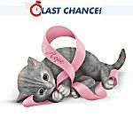Breast Cancer Support Kitten Figurine
