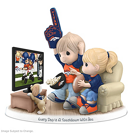 Figurine: Precious Moments Every Day Is A Touchdown With You Broncos Figurine