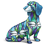 Louis Comfort Tiffany-Style Delightful Dragonfly Dachshund Figurine