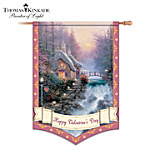Thomas Kinkade Happy Valentines Day Decorative Flag