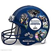 Seattle Seahawks Collage Helmet Sculpture