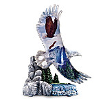 Guardians On High Figurine: Crystalline Bald Eagle Figurine With Wildlife Artwork