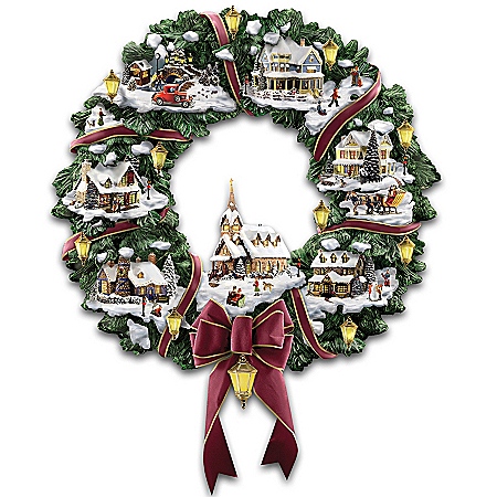 Thomas Kinkade Victorian Christmas Village Wreath
