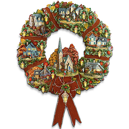 Home Decor Collectibles Thomas Kinkade Autumn Village Decorative Wreath: Autumn Home Decor