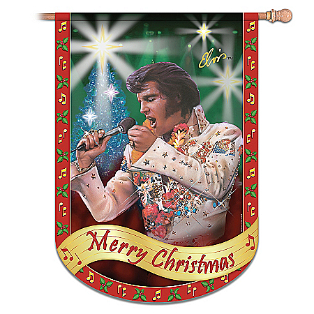 Home Decor Collectibles Elvis Presley Merry Christmas Flag: Elvis Home Decor