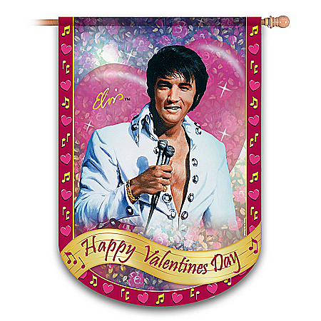 "Elvis Presley ""Happy Valentine's Day"" Flag"