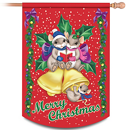 Charming Tails Merry Christmas Flag