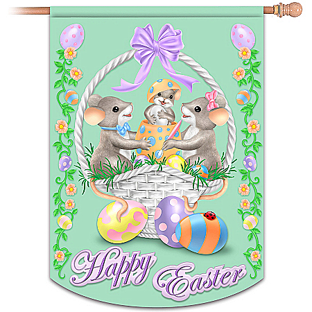 "Charming Tails ""Happy Easter"" Flag"